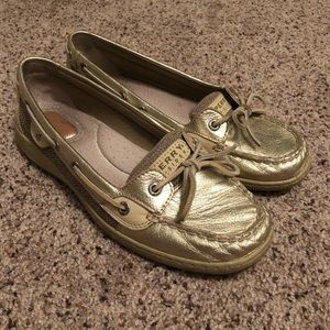 Sperry Top Sider Size 9 Metallic Gold